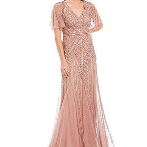 NWT adrianna pappell 6 rose gold sequin gown